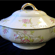 REDUCED Antique Haviland Limoges Set Parabere Large Soup Tureen Covered Bowl Pink Flower