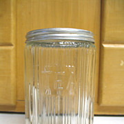 REDUCED Vintage Old Sellers Hoosier TEA Jar Canister Ribbed Triple Skip