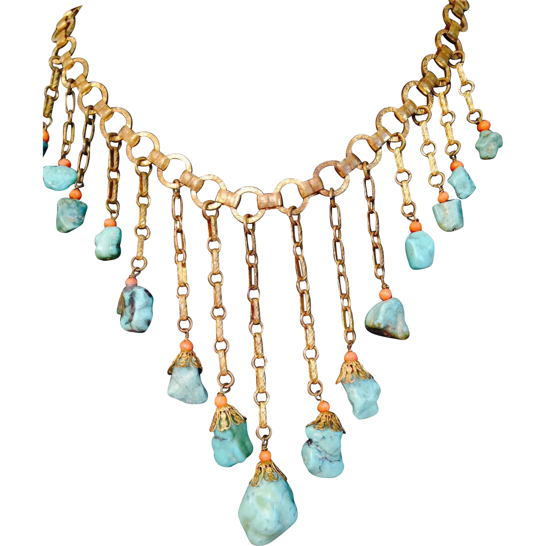 vintage turquoise and coral bib necklace from