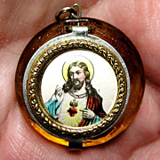 Vintage Mini Glass Rosary & Locket - Czechoslovakia - Yellow - Sacred Heart - Mint