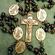 Antique Rosary ca 1750 - Bronze & Wood - Mater Dei, Passion Instruments, Skull, 6 Decades