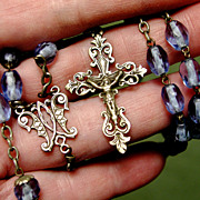Antique French Rosary - Fine Large Blue Glass Beads & Silver - 1800s