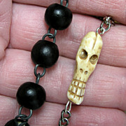 SOLD Nun's Vintage 1 Decade Pocket Rosary with Smiling Memento Mori - Wood & Steel
