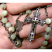 Splendid Large Antique French Rosary of Silver & Mother of Pearl - 1800s