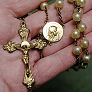 SOLD Vintage LaTausca Pearl Rosary - Nice Condition, Great Price - signed La Tausca