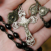 Antique Art Nouveau Rosary - Silver & Wood, 3 Medals, Tooled Leather Pouch