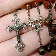 Rare Antique Rosary - Carnelian Beads & Hallmarked Silver - 19th Century, French