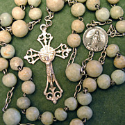 Fabulous & Unique Antique French Rosary of Green Marble & Silver - 19th Century