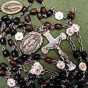 Antique Art Nouveau Rosary - Silver & Wood - 10 Integral & 2 Pilgrimage Medals