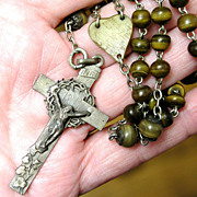 Rare Antique French Rosary with Carved Horn Beads & 800 Silver Crucifix