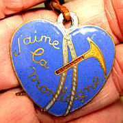 SOLD Vintage Heart Shaped Mountain Climbing Medal Fob - Enamel on Brass