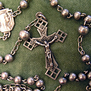 Elegant All Silver Vintage Rosary - French Art Deco - Hallmarked