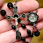 SALE PENDING Vintage Sterling Silver Rosary - Black Enamel with Gutta Percha Beads - Unusual &
