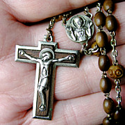 Handsome Vintage French Rosary - Art Deco Style, Olive Wood, Tau Crucifix