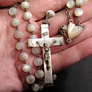 Splendid Large Antique Rosary - Mother of Pearl & Silver - France circa 1900
