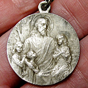 Wonderful Antique Holy Communion Silver Religious Medal - Large - France - 1900