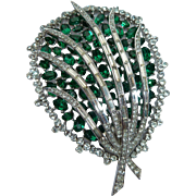 Crown Trifari Green Clear Rhinestone Copyright 50s 60s Pin Brooch