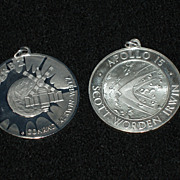 SALE Vintage Sterling Space Medals: Apollo I5 & Skylab I, NEW YEAR'S SALE