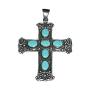 Large Sterling Silver Cross Signed HOB Mexico with Turquoise