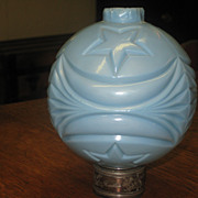 Blue Milk Glass Moon & Stars Lightning Rod Ball