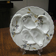 Haviland Oyster Plate with Wheat and Floral Pattern