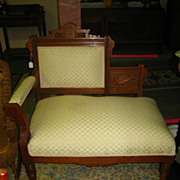 Victorian Walnut One Arm Settee