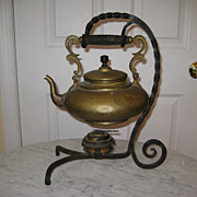 Victorian Brass Teapot and Twisted Wrought Iron Holder
