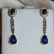 Elegant Sapphire and 9.75 Carat Diamond Dangle Earrings