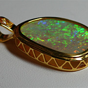 18 Karat Yellow Gold Solid Gem Opal Pendant from Gondwanaland Opals (Chain not included)
