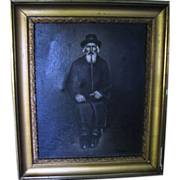 SALE Art_Judaica_Old_Jewish_Man_Long_Pipe