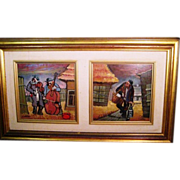 SALE Art_Judaica_2_in_1_S_Goldstein_Kibuc_Life_moments