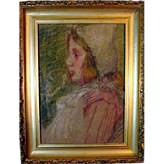 SALE Painter Unknown_Young_Girl_Pastel_Italian