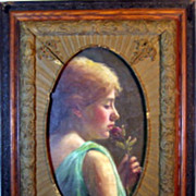 SALE Painter Unknown_Young Woman Smelling a Rose