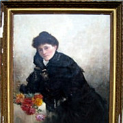 REDUCED Portrait of a Woman in Black. Signed. Supposedly E.Leroux  20c