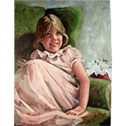 SALE Portrait of a Girl in a Pink Dress