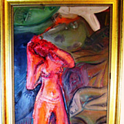 SALE ROCKY_Red Nude Woman in A Sea of Green Faces