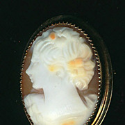 Small CAMEO_Pin_Pendant_ Young Lady _Sterling- framed