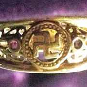 Buddhist_Swastika_Gold_Ring_Religious Symbols_Vintage_Jewelry