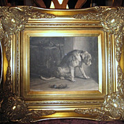 SALE Vintage black-white photograph_dog_framed in a classy New-Old frame
