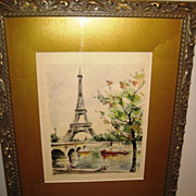 SALE VP_G.Lelong_Paris_Watercolor_Vintage_Print_Eiffel