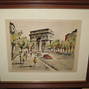 SALE VP_Lelong_Triumph_Arc_watercolor_Vintage_Print