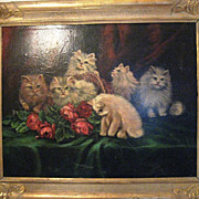SALE Cats_Roses_Basket_Celina Barthilemys_ Oil on Canvas