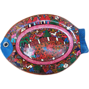 SALE Hand-painted Decorative Fish-shaped Plate_Mexican/Central American Art