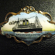 Hand Painted Enamel RMS Empress of Britain Steamship Pin