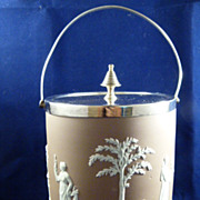 Wedgwood Lilac Jasperware Dipped Biscuit Barrel c. 1890
