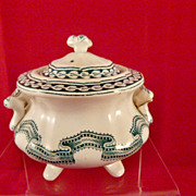 Rippled Ribbon Band Child's Toy China Sugar Bowl