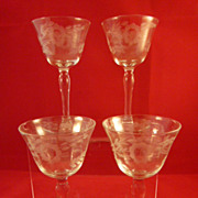 4 Etched Vintage Wine Stem Glasses