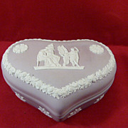 Wedgwood Lilac Jasperware Large Heart Shaped Box