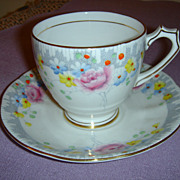 Very Pretty Royal Mayfair Cup and Saucer Made in England Bone China
