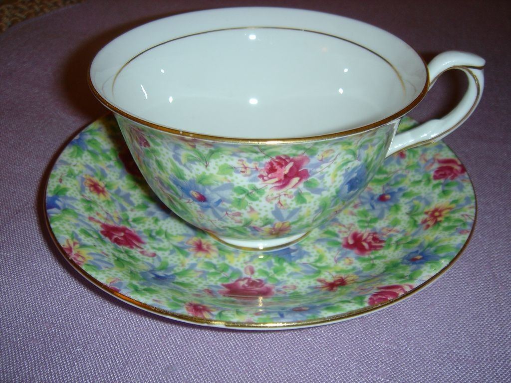 Taylor & Kent Chintz Cup and Saucer Made in England Bone China